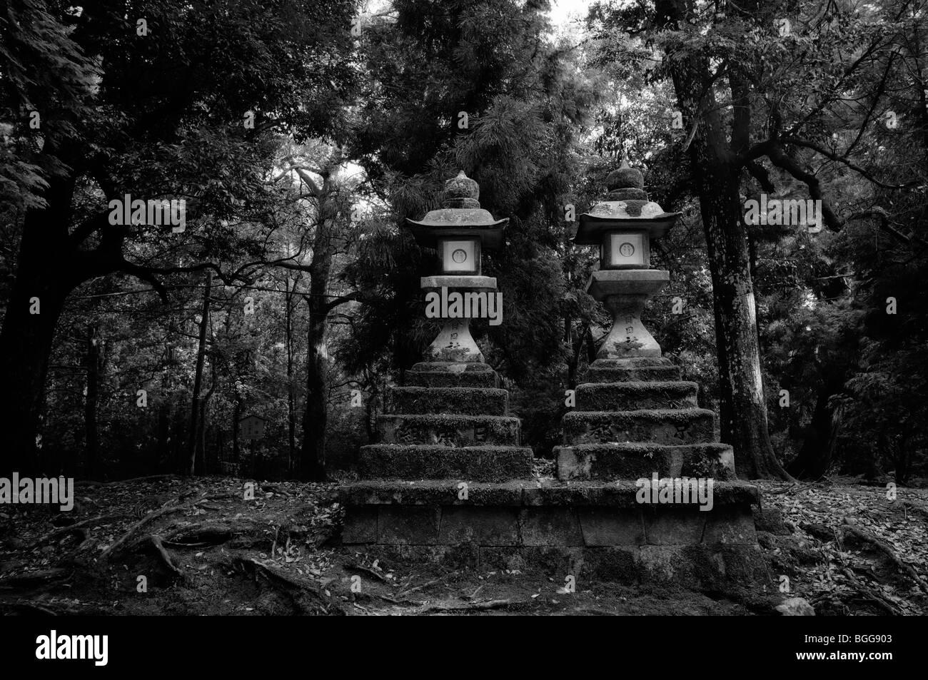 Japanese stone lanterns. Kasuga-taisha Shrine (aka Kasuga Shrine). Nara City. Nara Prefecture. Japan - Stock Image