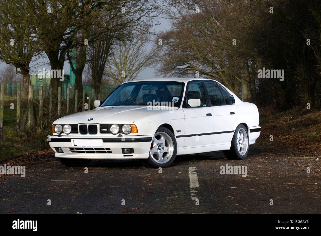 BMW M5 E34 shape - 1988 to 1996 - high performance luxury saloon car - Stock Image