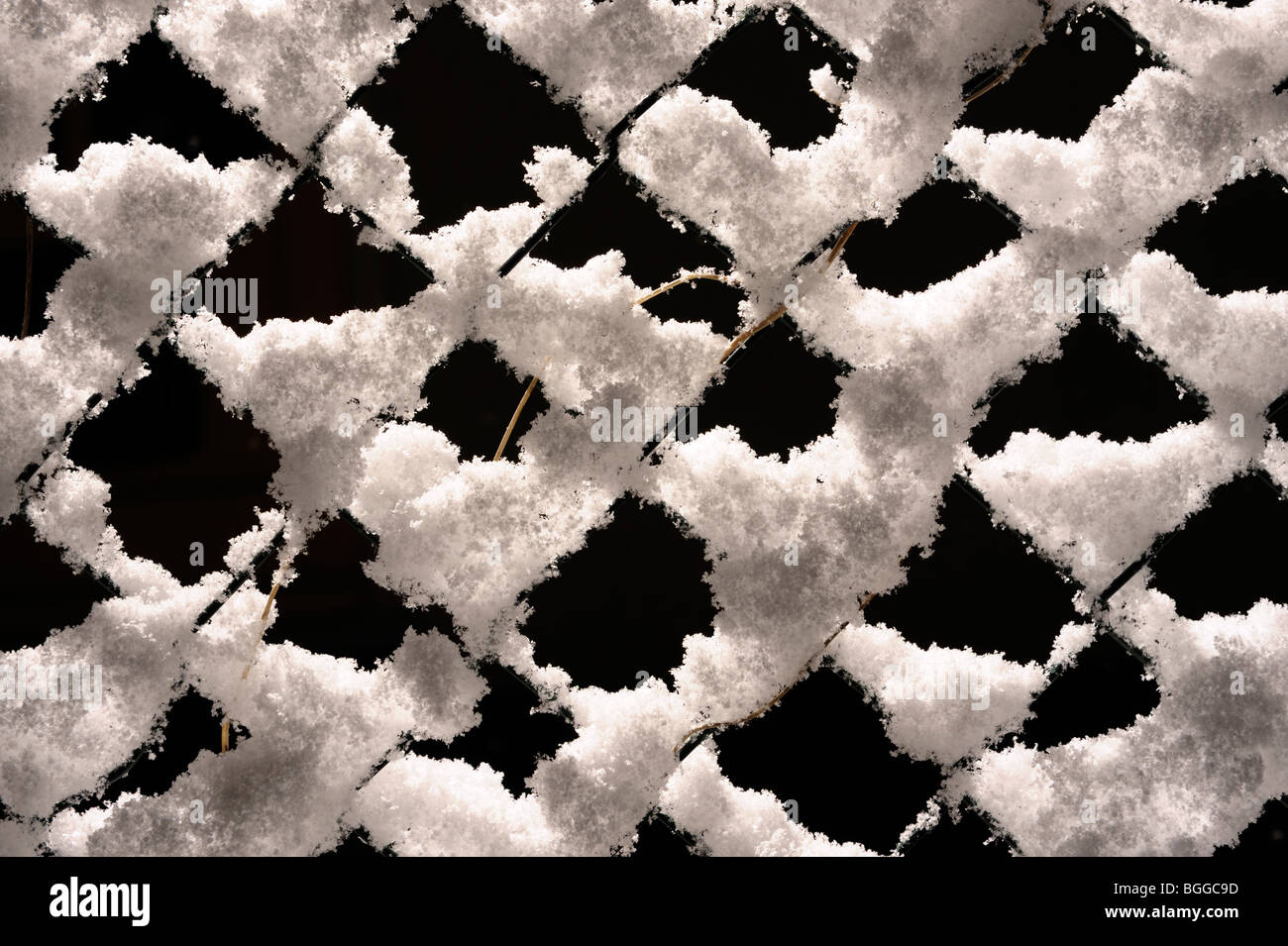 Snow covered fence - Stock Image