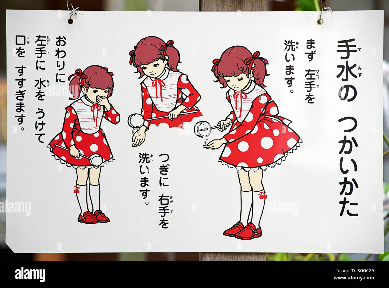 Sign explaining the procedure for cleansing oneself using the water at shrine entrance. Nishiki Tenmangu shrine, - Stock Image