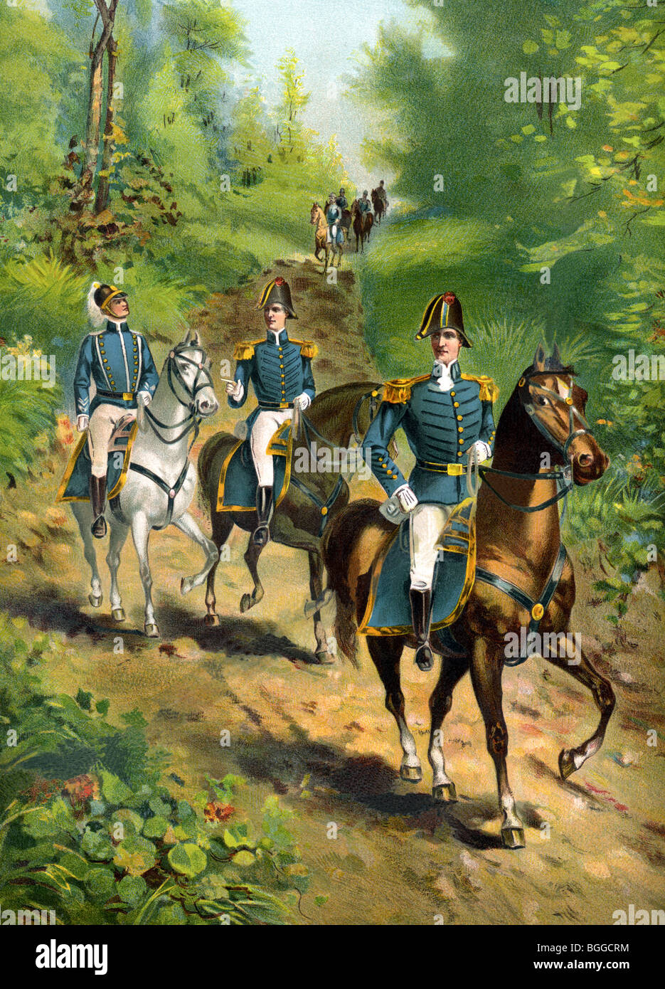 Pictured here are a U.S. Army general in 1812 with his staff officers, all riding their horses along a path in the - Stock Image