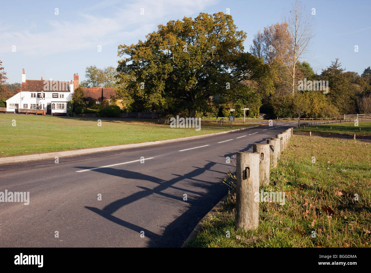 Tilford, Surrey, England, UK, Europe. Country road and village green - Stock Image
