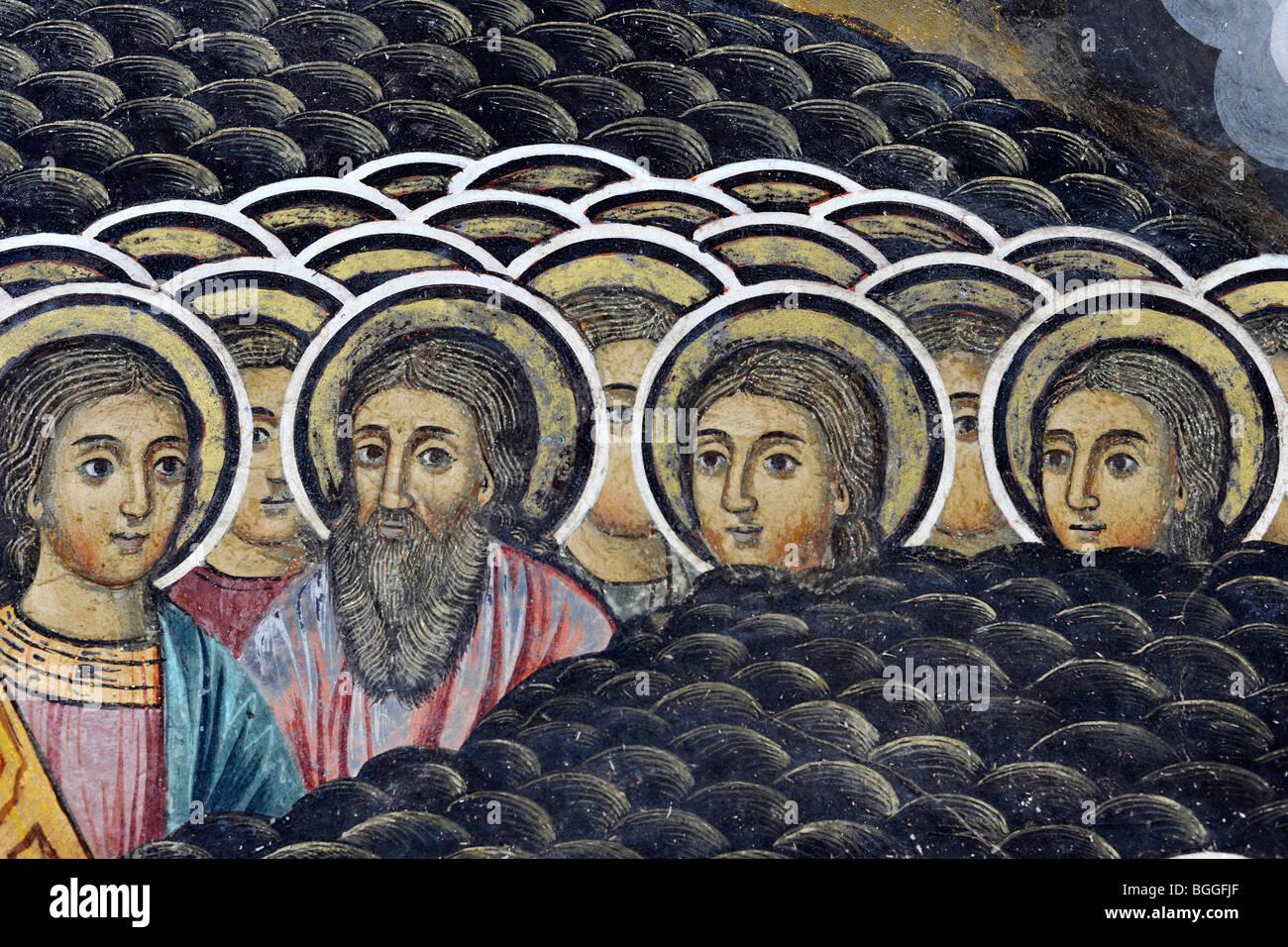 Rila Monastery fresco with detail of saints Stock Photo