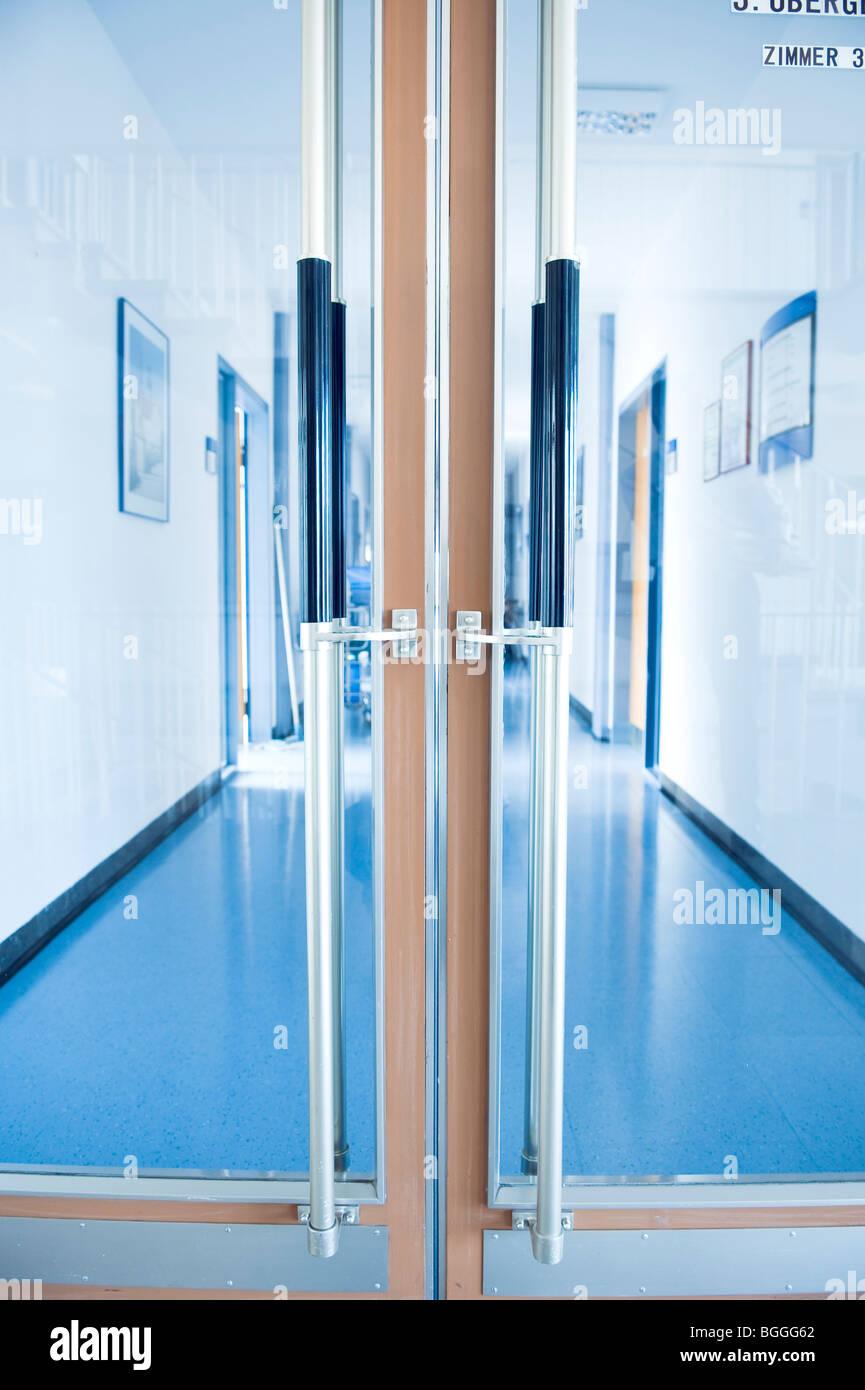 office corridor door glass. Closed Door Of An Office Corridor, Close-up Corridor Glass