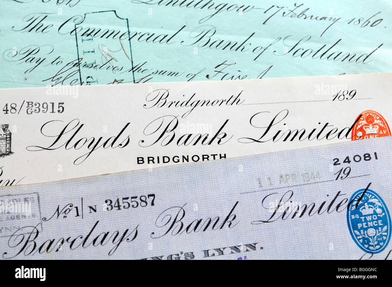 Old bank cheques - Stock Image