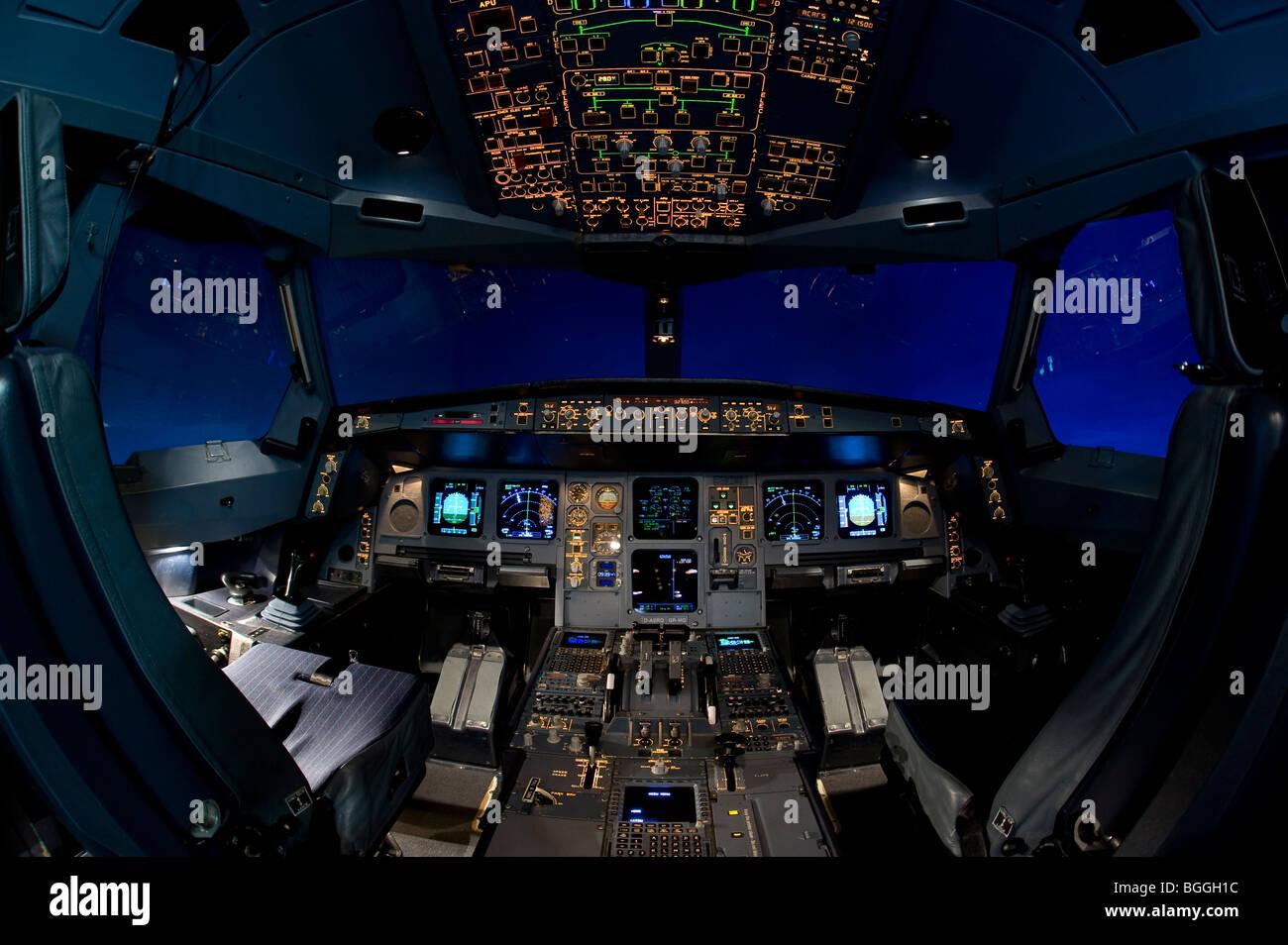 Flight Simulation Center Berlin, ZFB, cockpit of an Airbus A330/340 flight simulator, Berlin, Germany, Europe - Stock Image