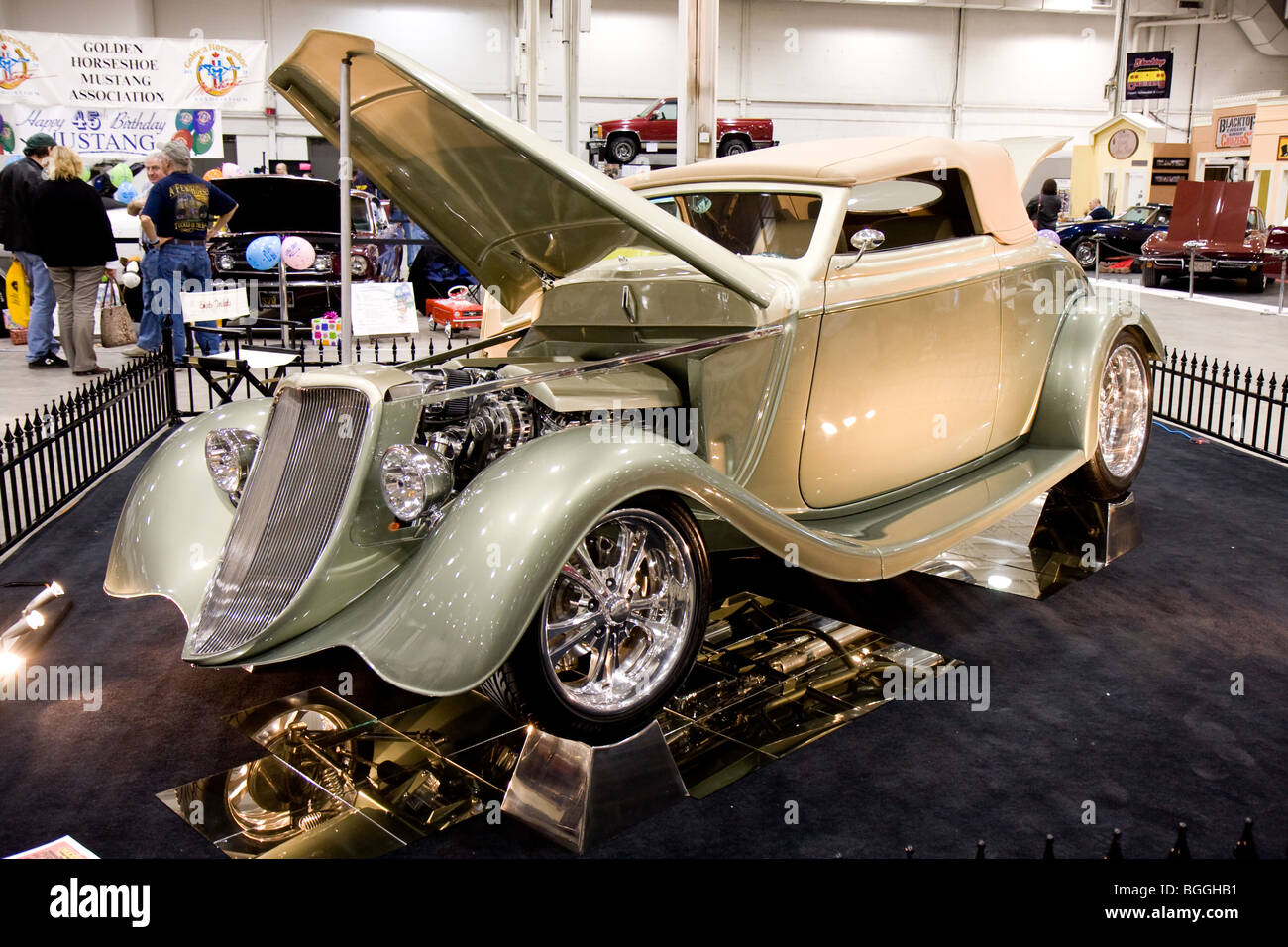 Custom vintage classic American retro cars on display at a car local ...