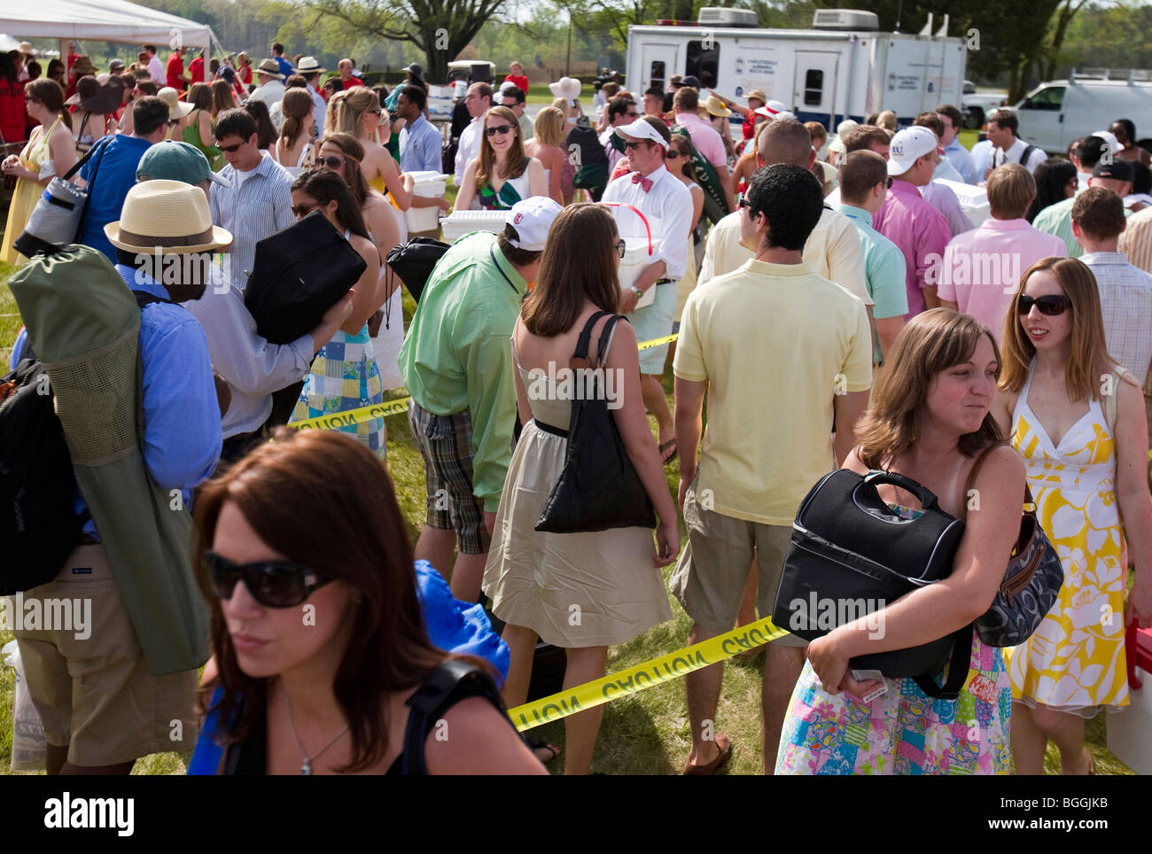 Students line up to pass security checks as new rules governing the consumption of alcohol were enforced at the - Stock Image
