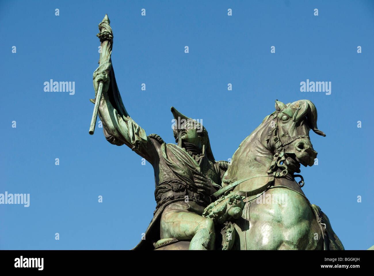 Statue of General Manuel Belgrano on horse in Plaza de Mayor in Buenos Aires, Argentina - Stock Image