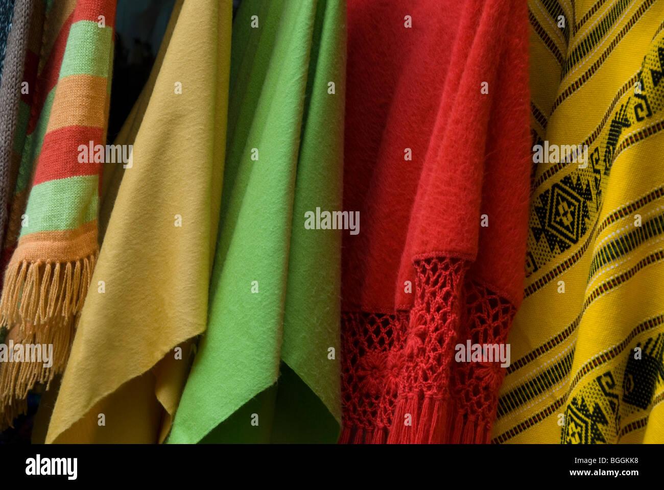 Woolen ponchos in market in Puerto Varas, Los Lagos Region (Lake District) of Chile - Stock Image