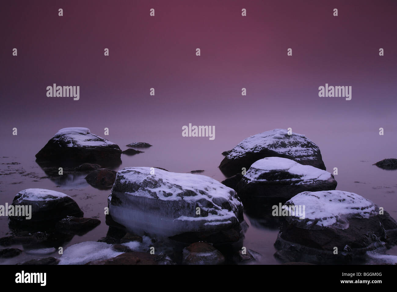 Icy rocks by the Oslofjord at Larkollen in Rygge kommune, Østfold fylke, Norway. - Stock Image