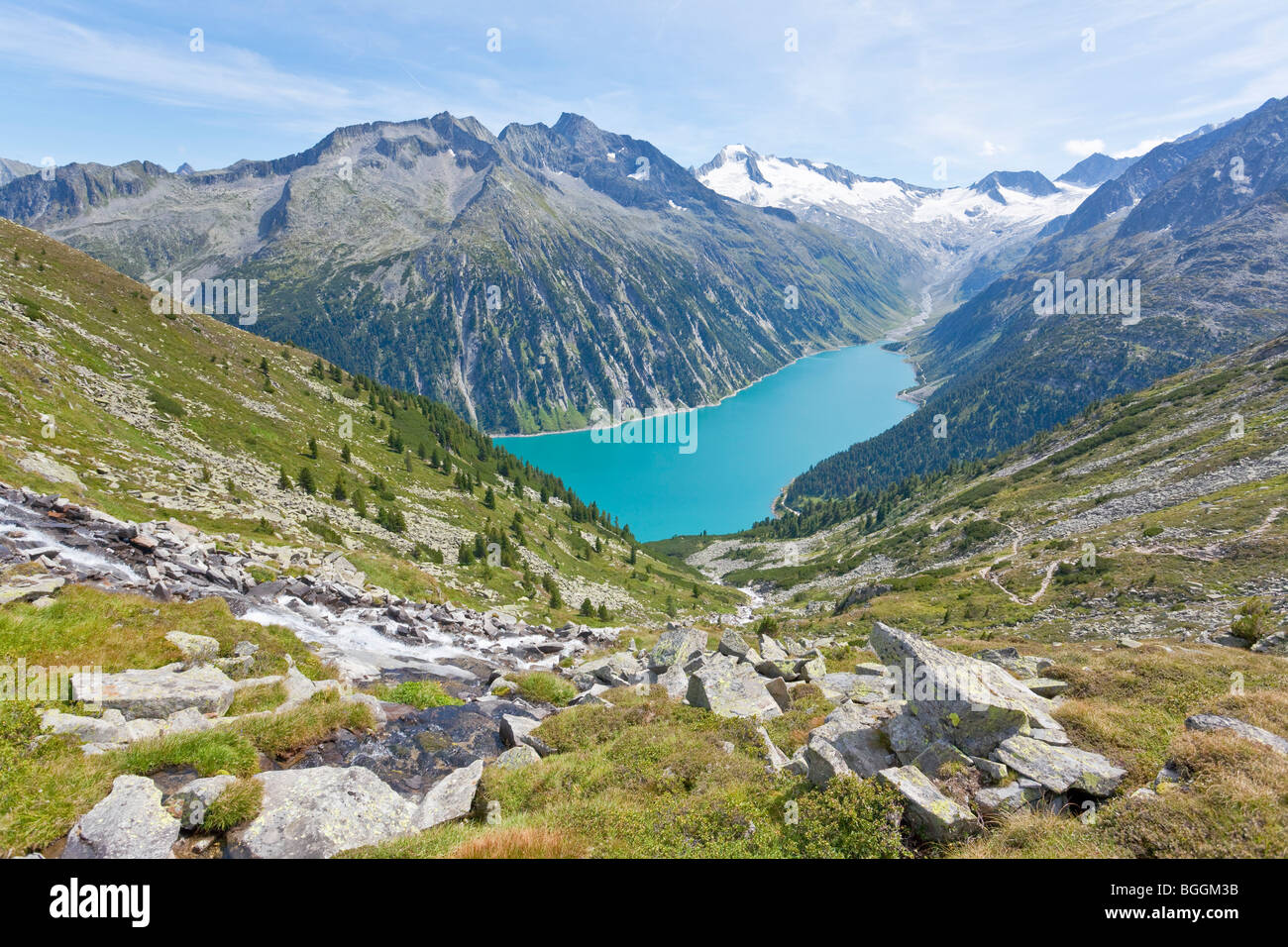 View on a reservoir and the Zillertal Alps, Tyrol, Austria, high angle view Stock Photo