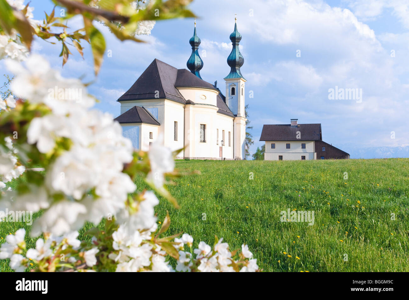Church of pilgrimage in Oberndorf bei Salzburg, Austria, low angle view - Stock Image