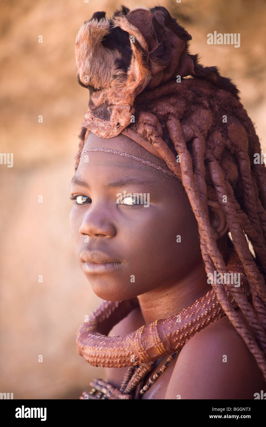 Young girl of the Himba tribe, northern Namibia - Stock Image