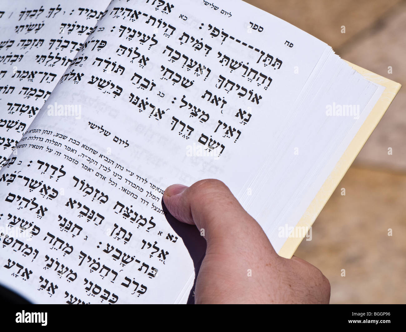 Jerusalem Israel at  the Walling wall (referred to as the Western Wall or Kotel) using a daily prayerbook for the - Stock Image