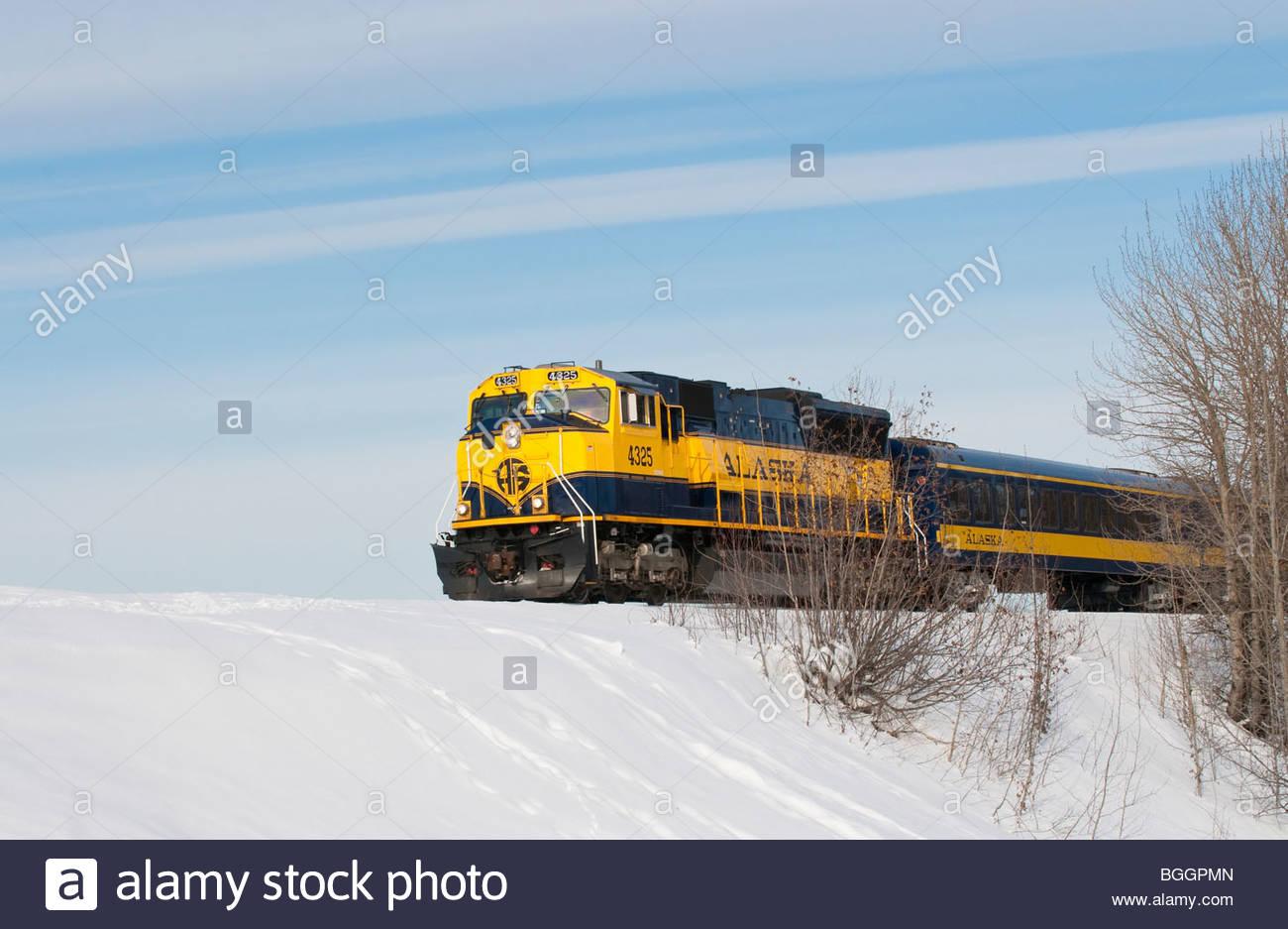 AKRR, Alaska, Alaska Railroad train engine in winter - Stock Image
