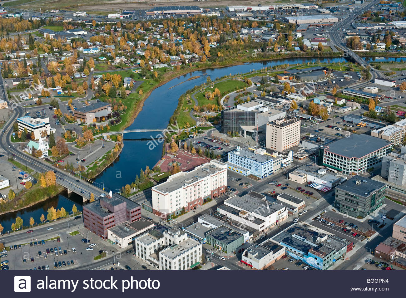Alaska aerial view of Fairbanks, town, on the banks of the Chena River. - Stock Image