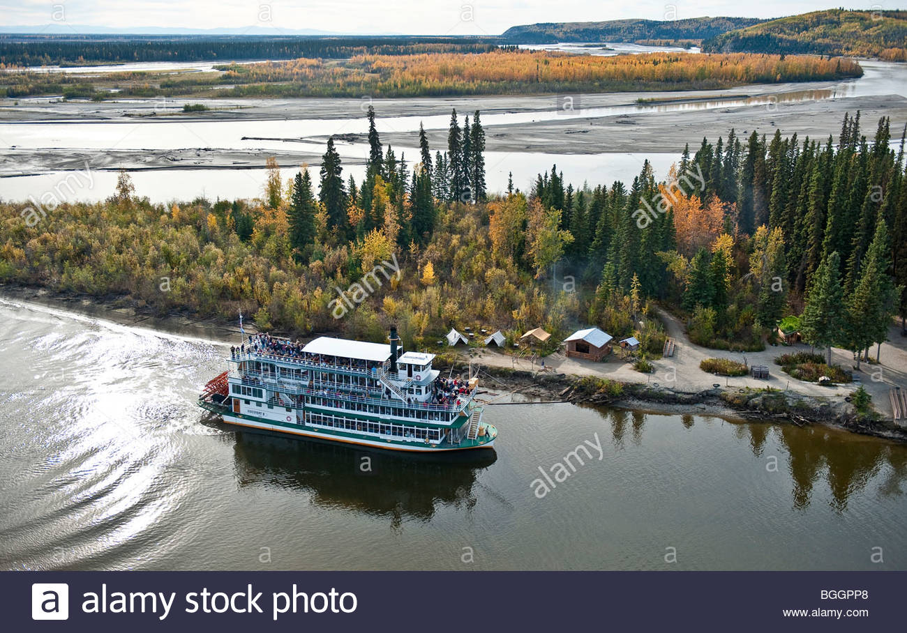 Fairbanks Alaska A view of a paddle boat sternwheeler the Discovery 3, river boat taking visitors on a tour along - Stock Image