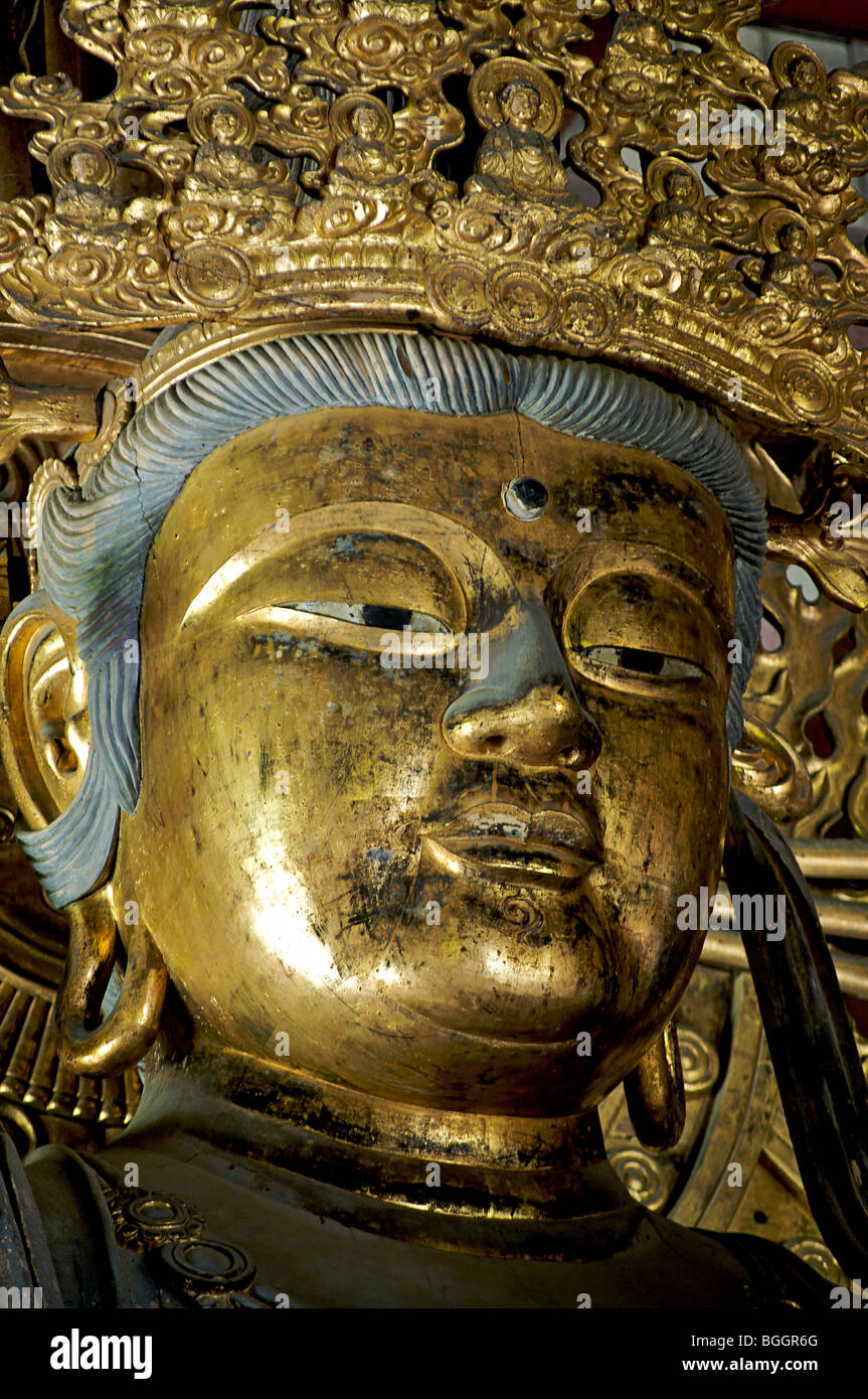 Buddhist statue in the historic Todaiji temple, Nara, Japan - Stock Image