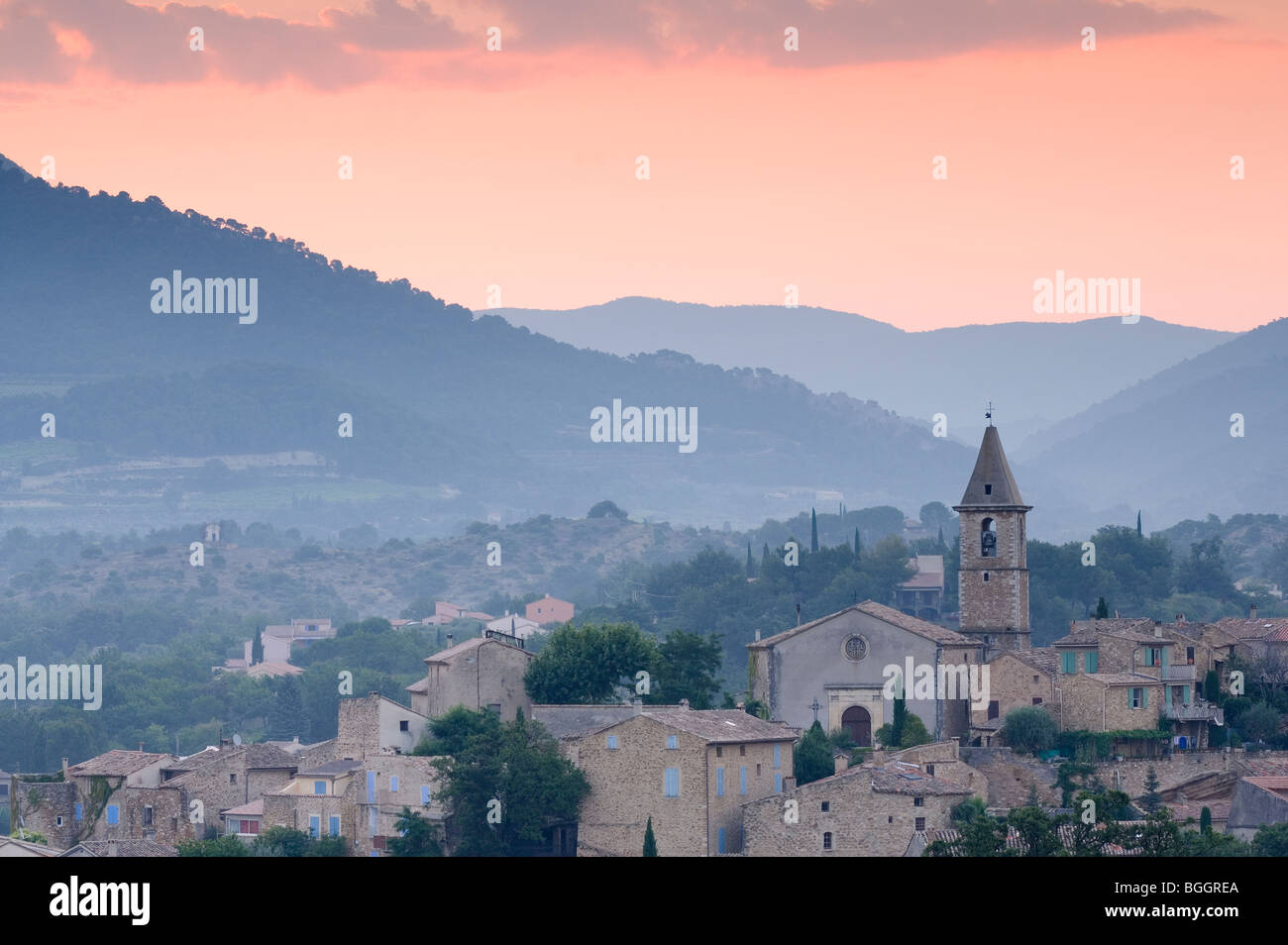 View of Village at dawn, Mirabel aux Baronnies, Provence, France, Europe - Stock Image