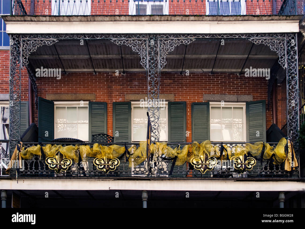 French Quarter Balcony Decorated With Saints Football Team Logo The