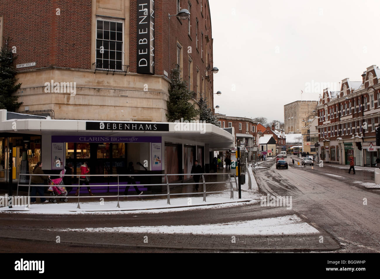 Around Norwich city centre in the UK Snowfall of early January 2010. - Stock Image