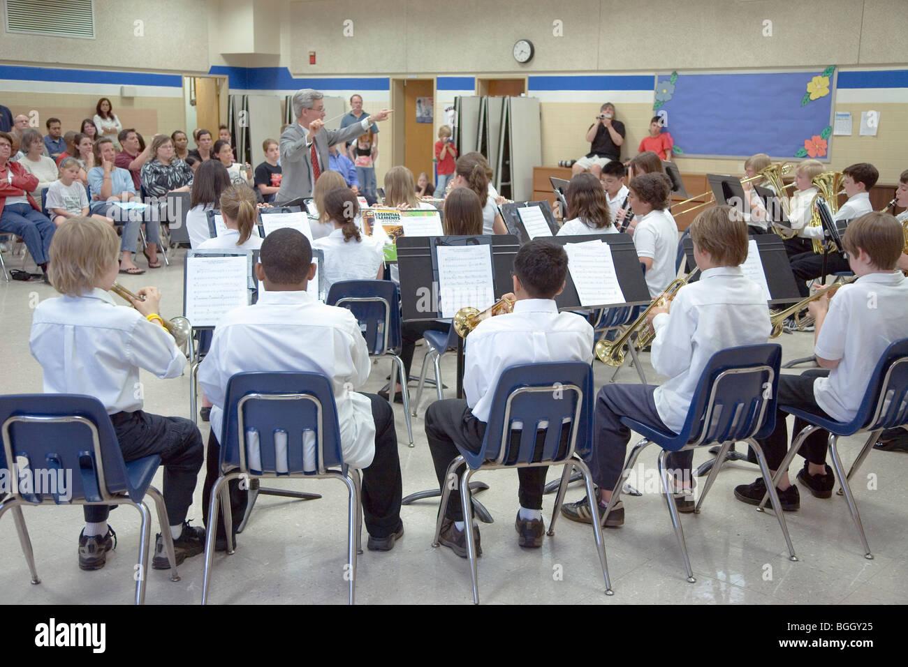 5th grade band recital at Ravensworth Elementary, Fairfax County, Springfield, Virginia - Stock Image