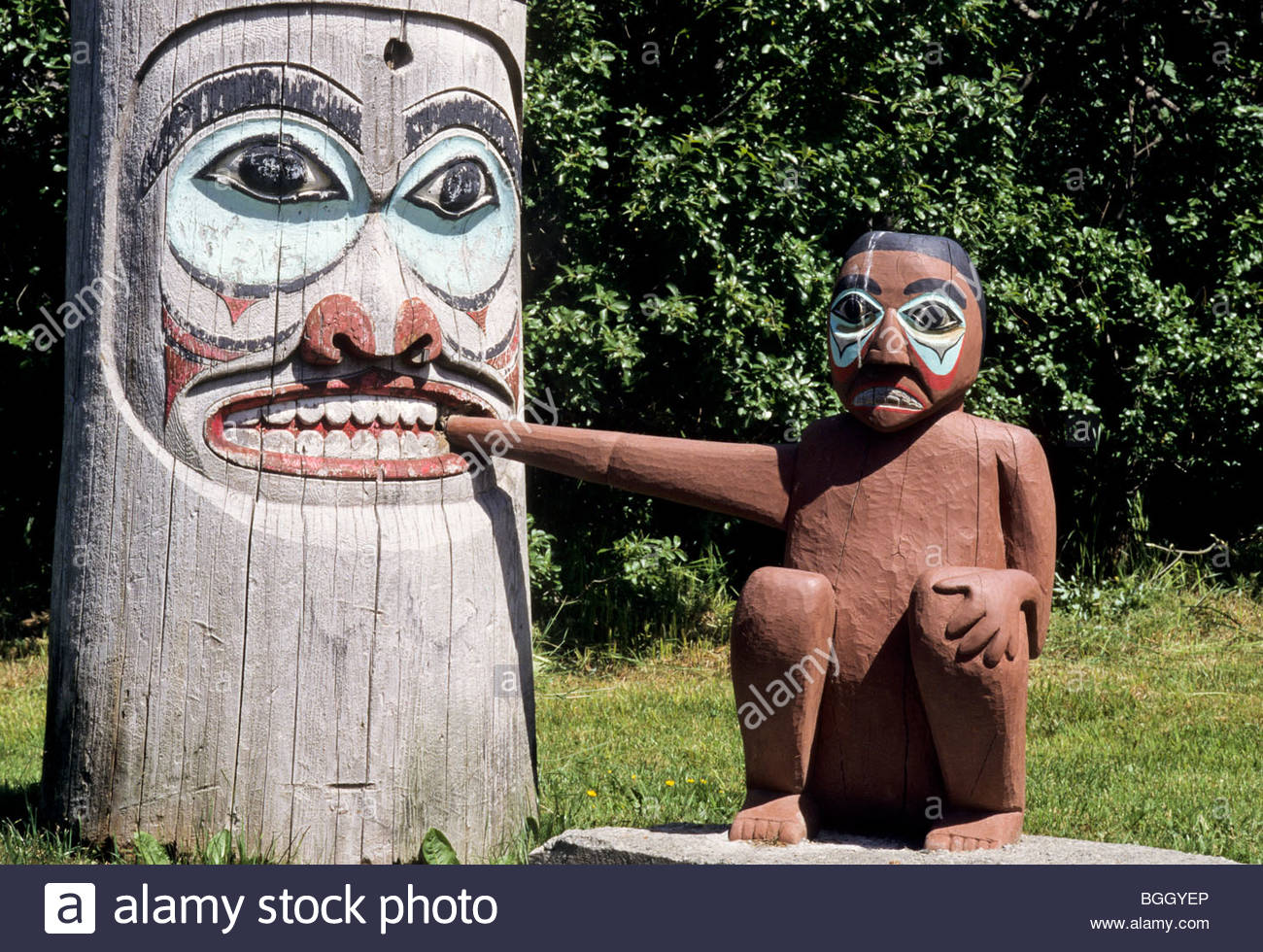Myth - Human / Bear on Totem saxman, alaska. - Stock Image