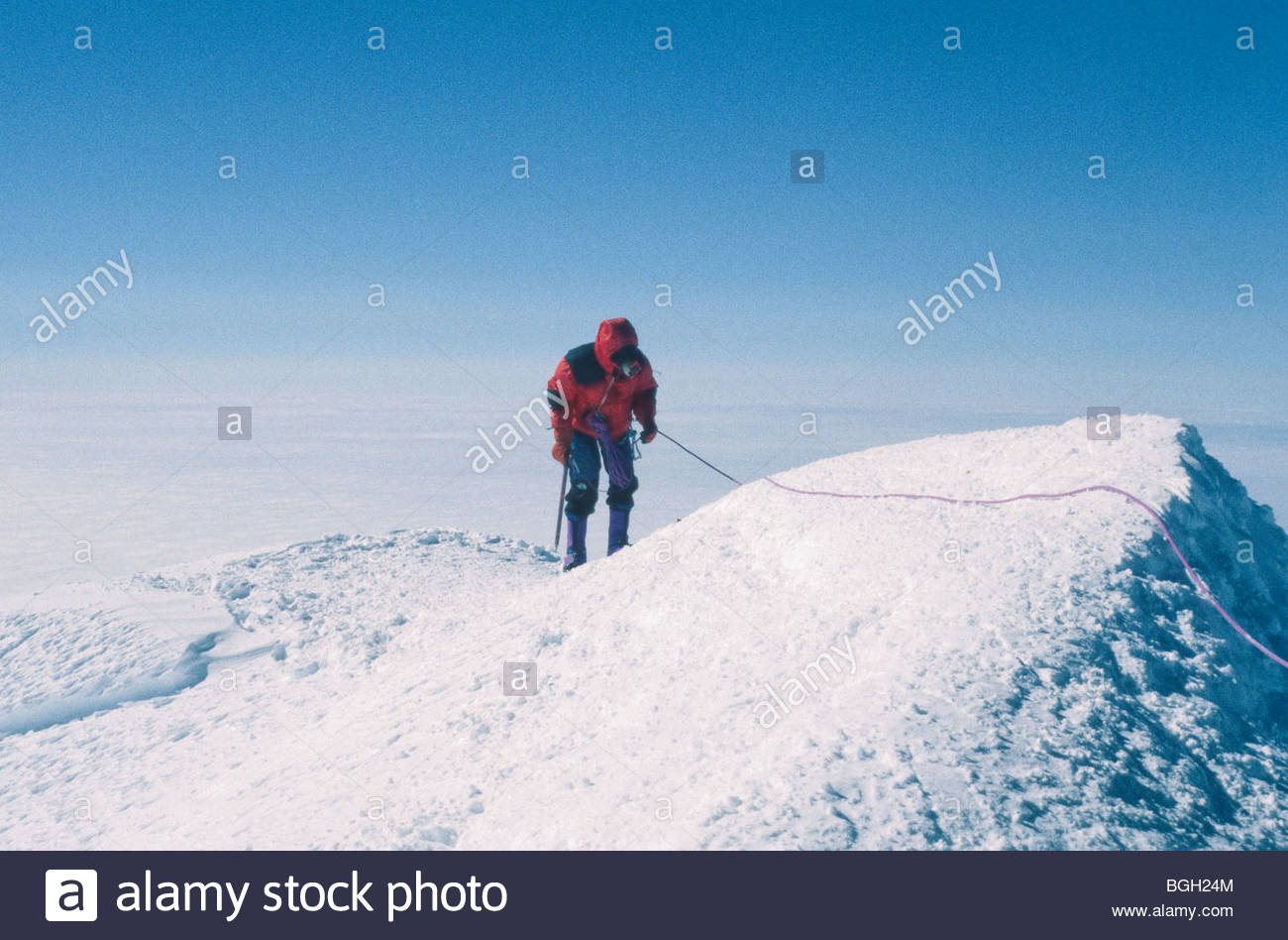 Alaska. Climber, Greg Grunnion , summits Mt Mckinley. - Stock Image