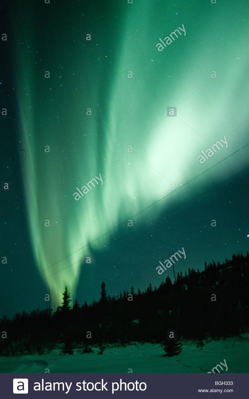 Aurora Borealis Alaska. Aurora means Goddess of the Dawn. - Stock Image