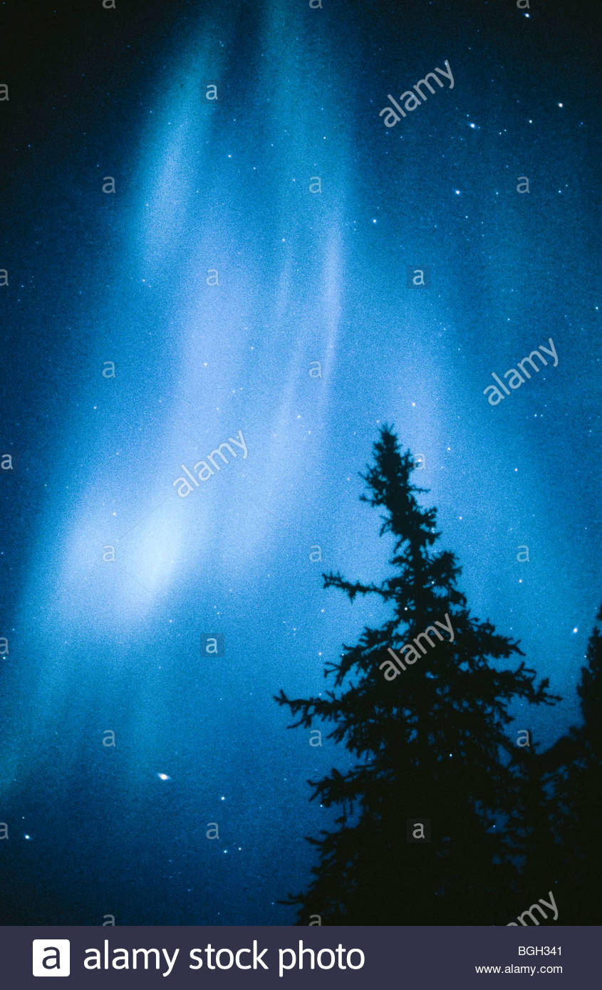 Alaska. Aurora Borealis or Northern Lights. - Stock Image