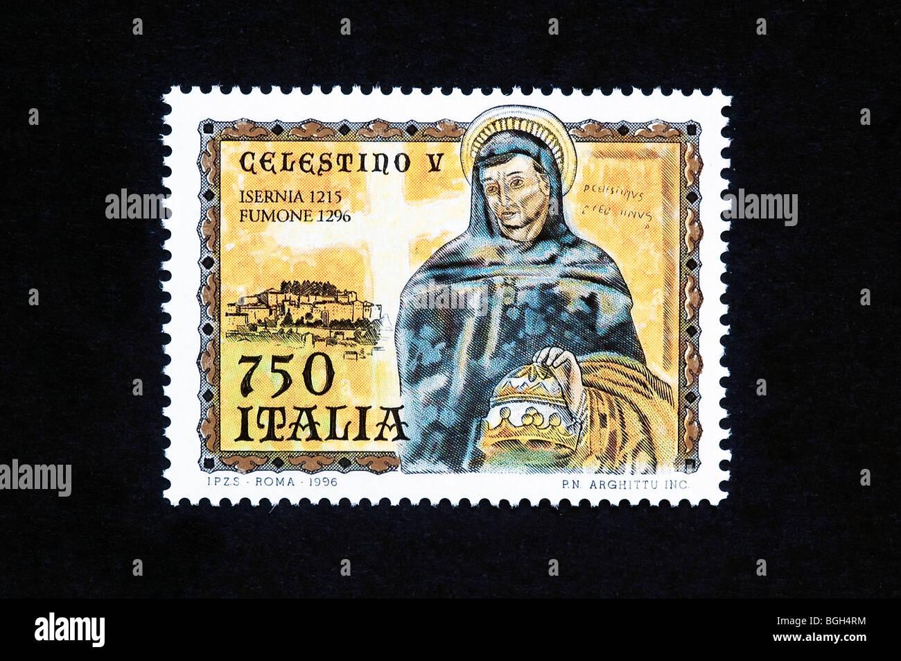 Pope Celestine V in a 1996 italian stamp - Stock Image