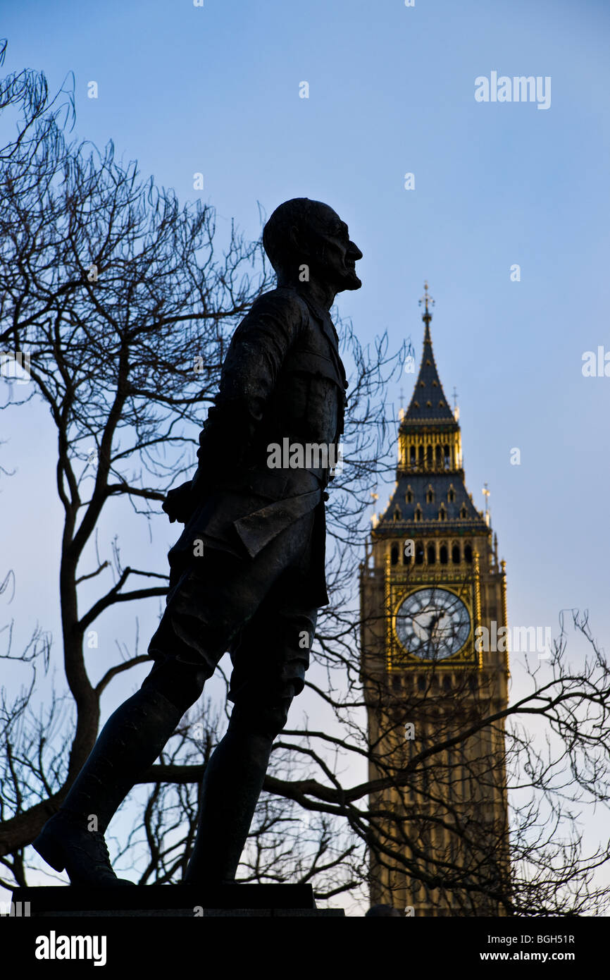 Statue of Jan Smuts in Westminster, London - Stock Image