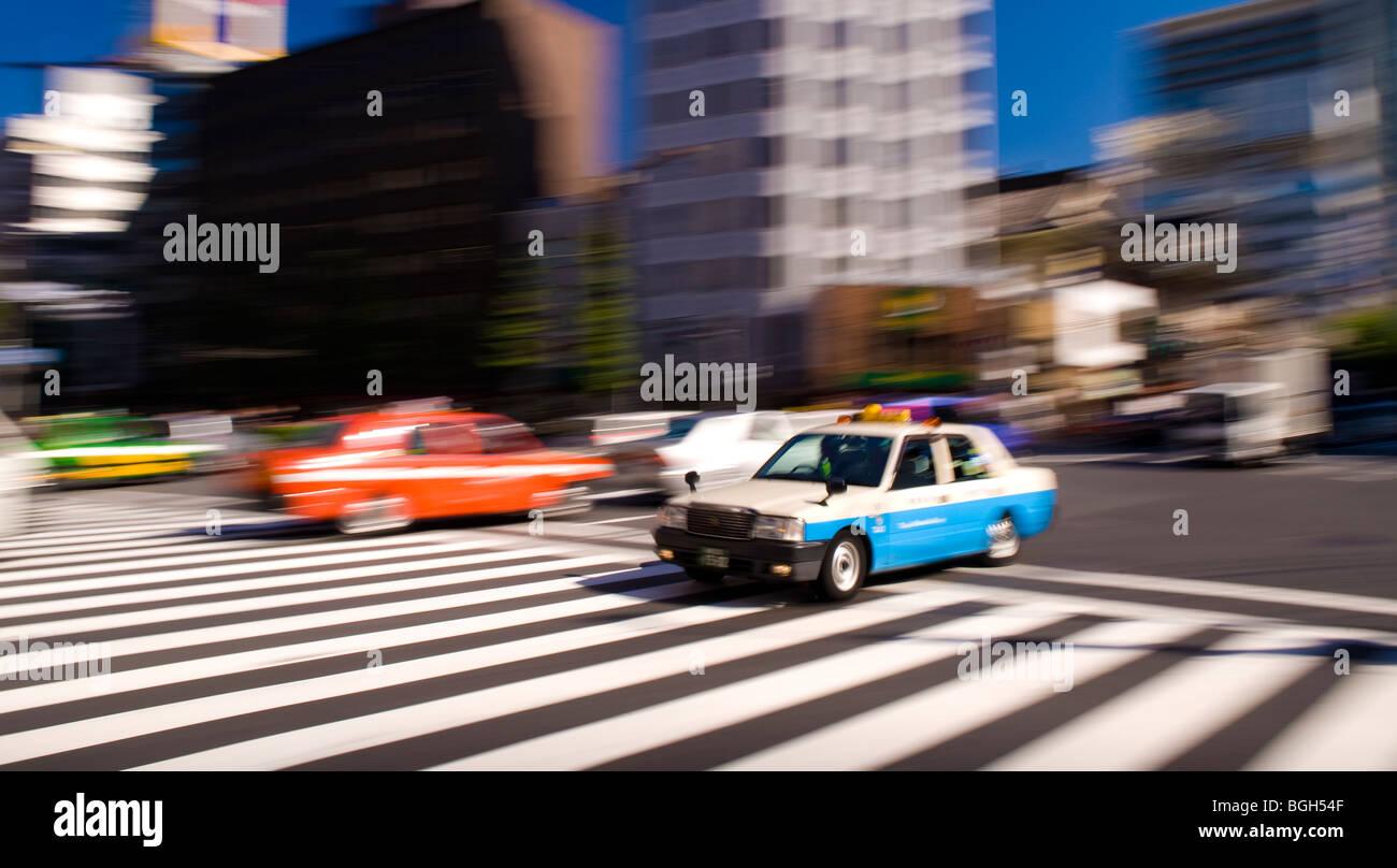 Traffic on Harumi-Dori, Ginza, Tokyo, Japan Stock Photo