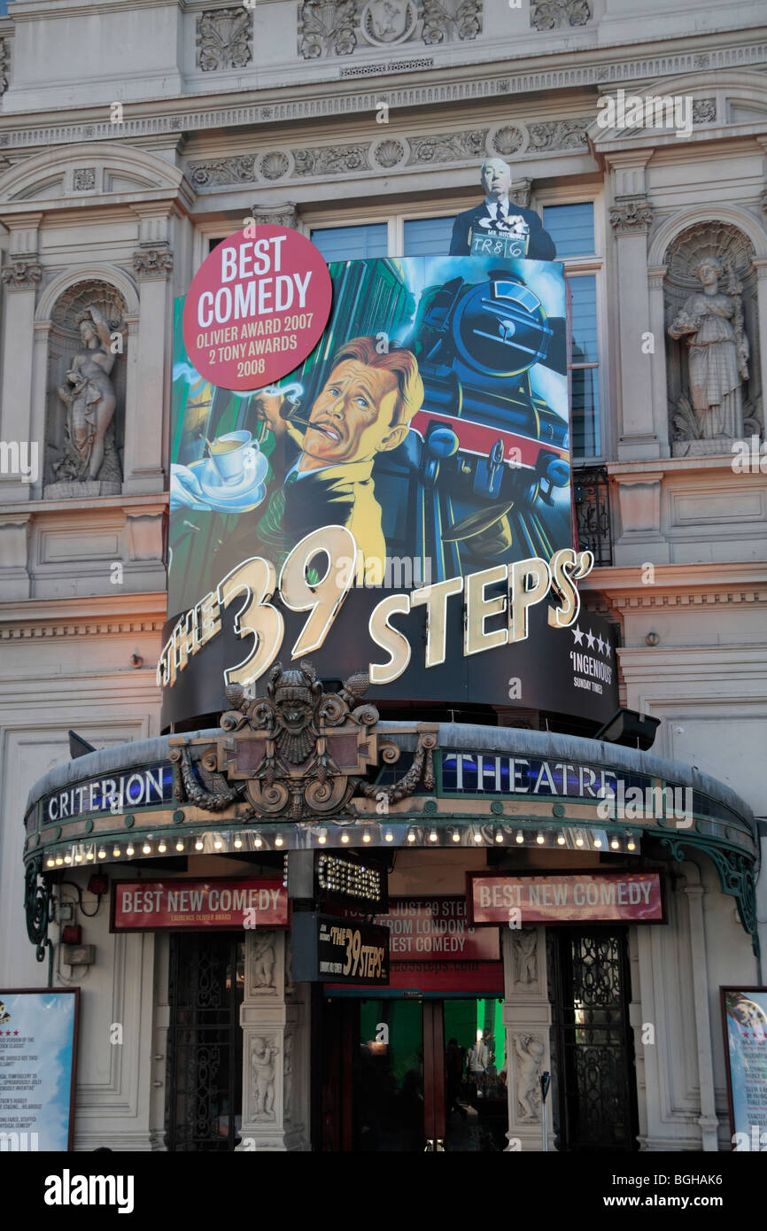 Advertising sign for 'The 39 Steps' above the entrance to the Criterion Theatre London.  Nov 2009 - Stock Image