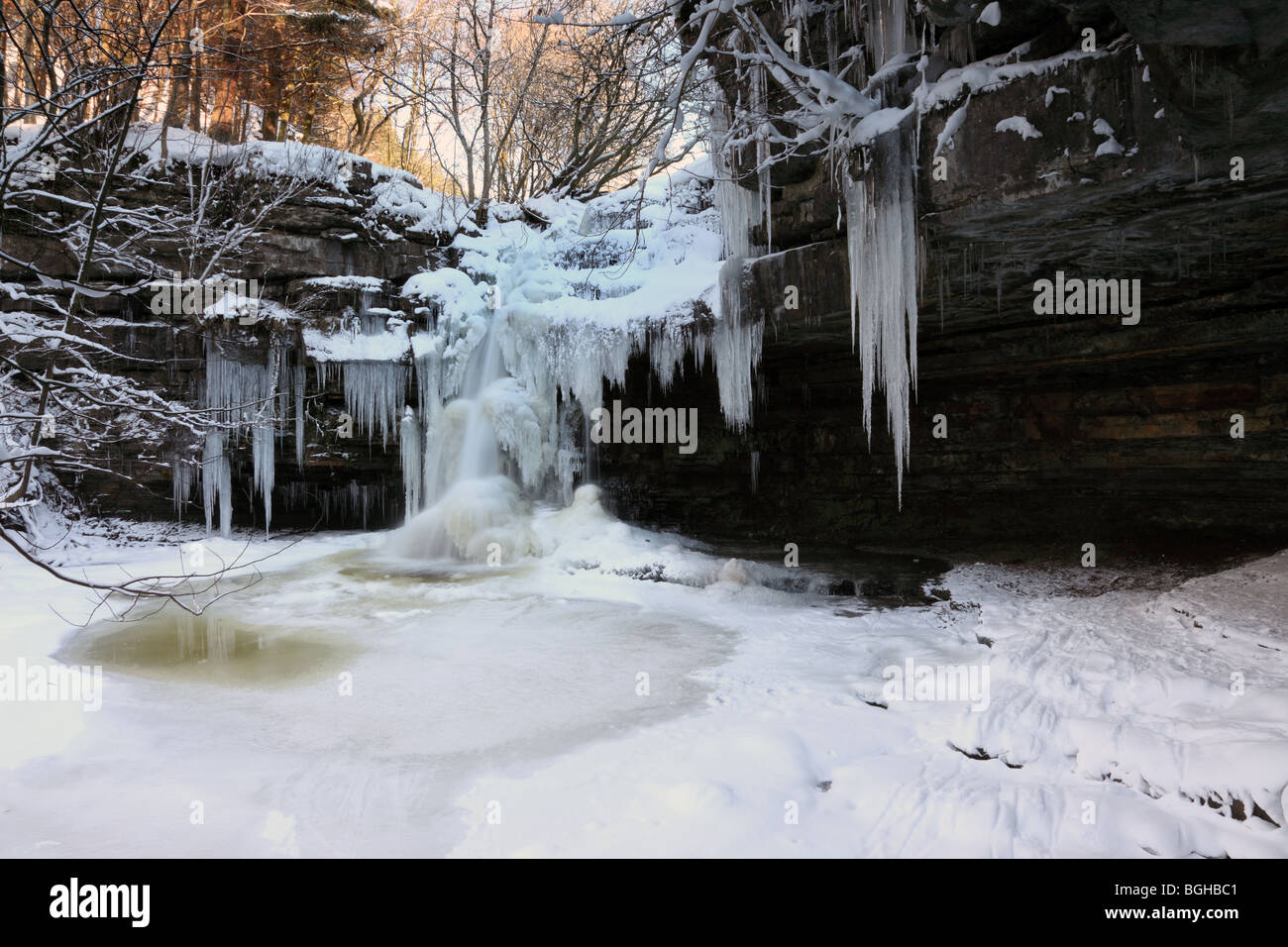 Frozen Waterfall and Gibsons Cave Bowlees Upper Teesdale County Durham - Stock Image