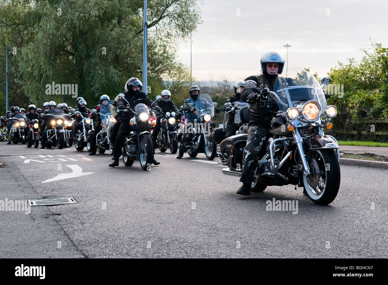 Harley Davidson and other classic bike gathering known as hoggin the bridge at Aust services, England - Stock Image