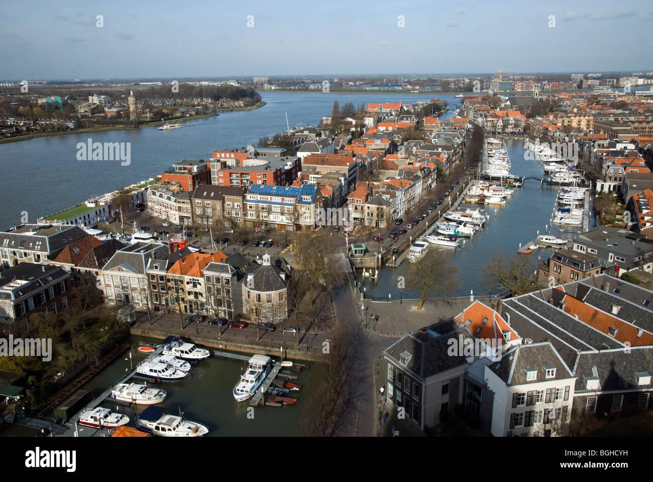 Oude Maas and Nieuwe Haven from Grote Kerk, Dordrecht, Zuid-Holland, Netherlands Stock Photo