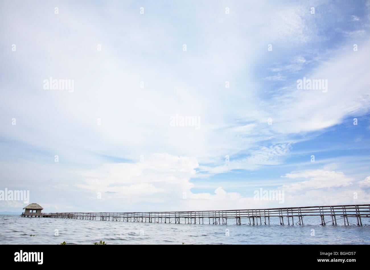 Bamboo Pier Panglao Island; Bohol; The Visayas; Philippines - Stock Image