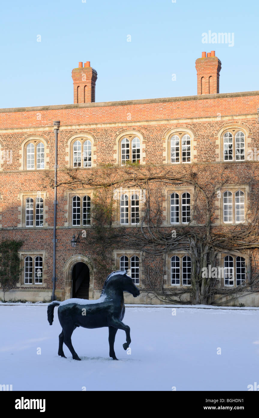 England; Cambridge; Jesus College in Winter Stock Photo