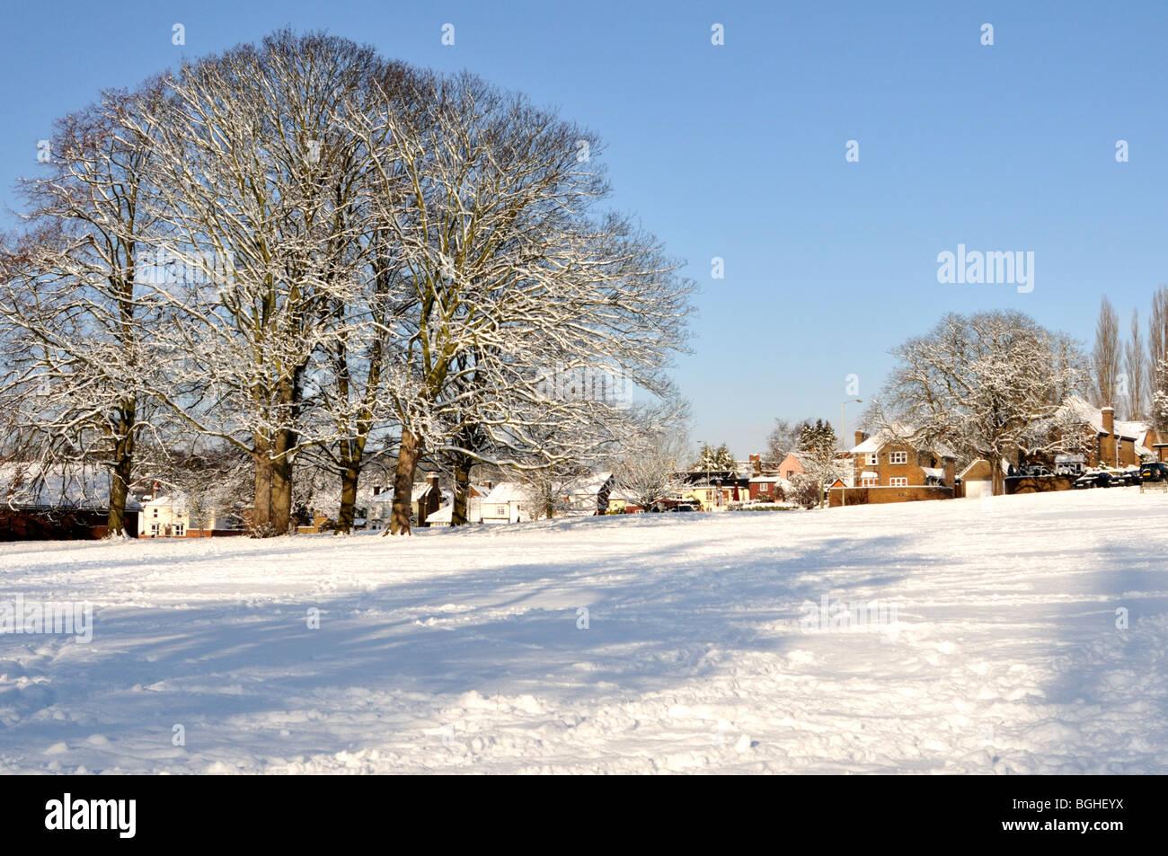 2010 Hertfordshire winter snow scene, UK. - Stock Image