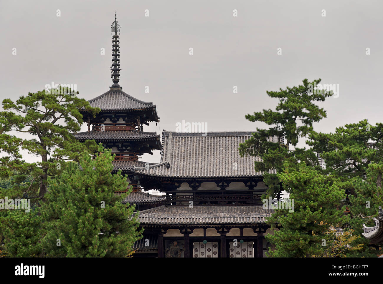 Horyuji temple. One of the oldest temples in Japan Nara prefecture. Japan. - Stock Image