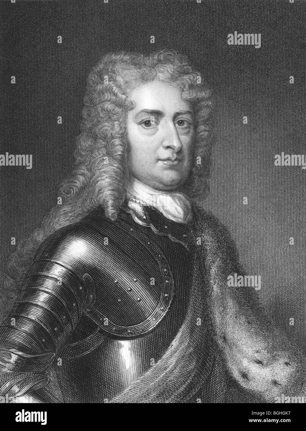 1st Duke of Marlborough, John Churchill on engraving from the 1850s. Prominent English soldier and statesman . - Stock Image