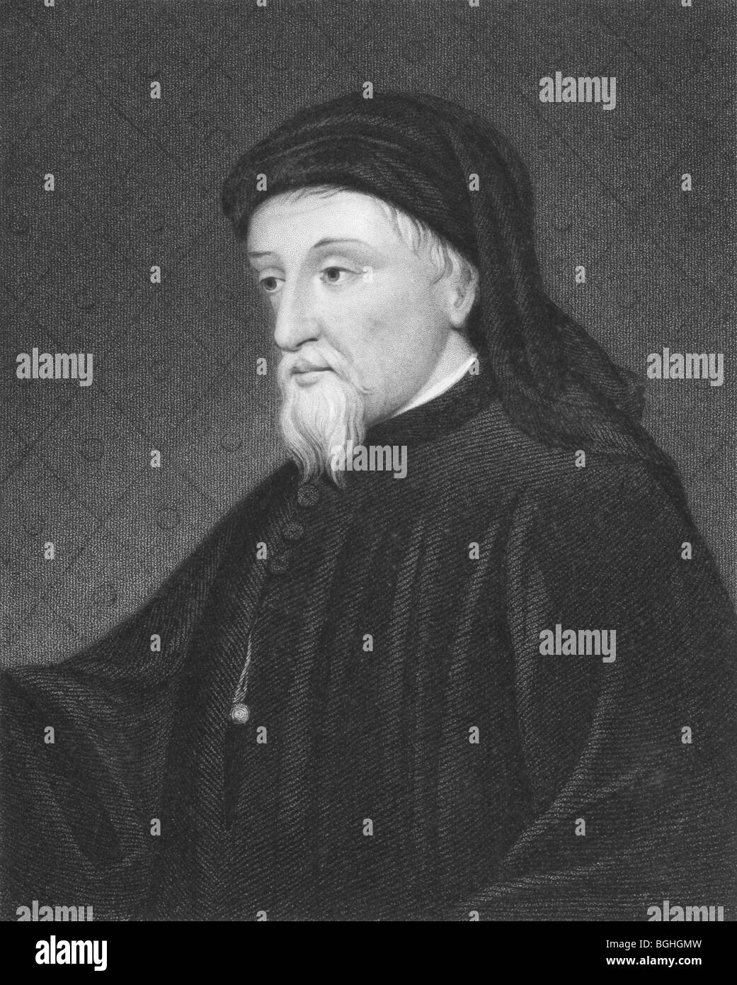Geoffrey Chaucer on engraving from the 1850s. English author, poet, philosopher, bureaucrat, courtier and diplomat. - Stock Image