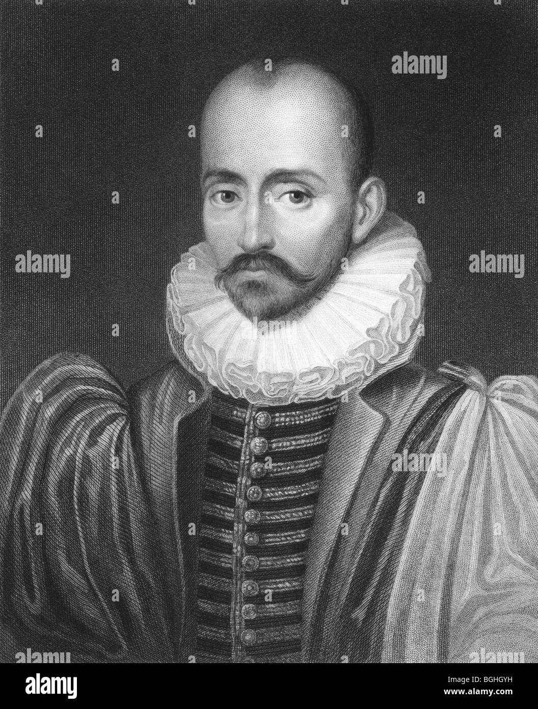 Michel de Montaigne on engraving from the 1850s. One of the most influential writers of the French renaissance. - Stock Image