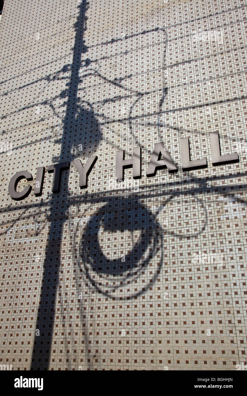City Hall with shadow from utilitiy lines in Port of Spain Trinidad - Stock Image