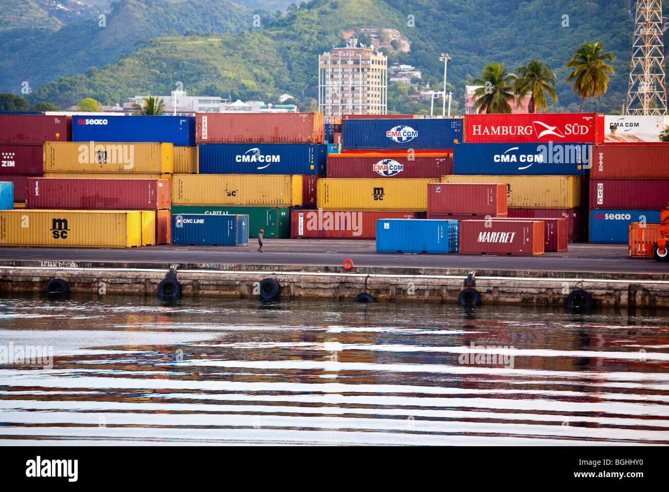 Shipping containers at the port in Port of Spain, Trinidad - Stock Image