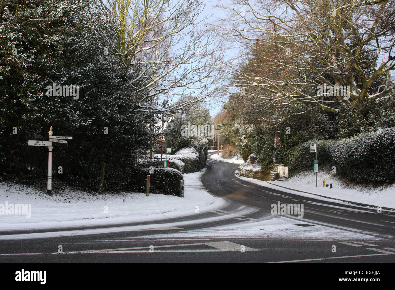 A road junction in winter. Woodborough, Nottinghamshire, England, U.K. - Stock Image