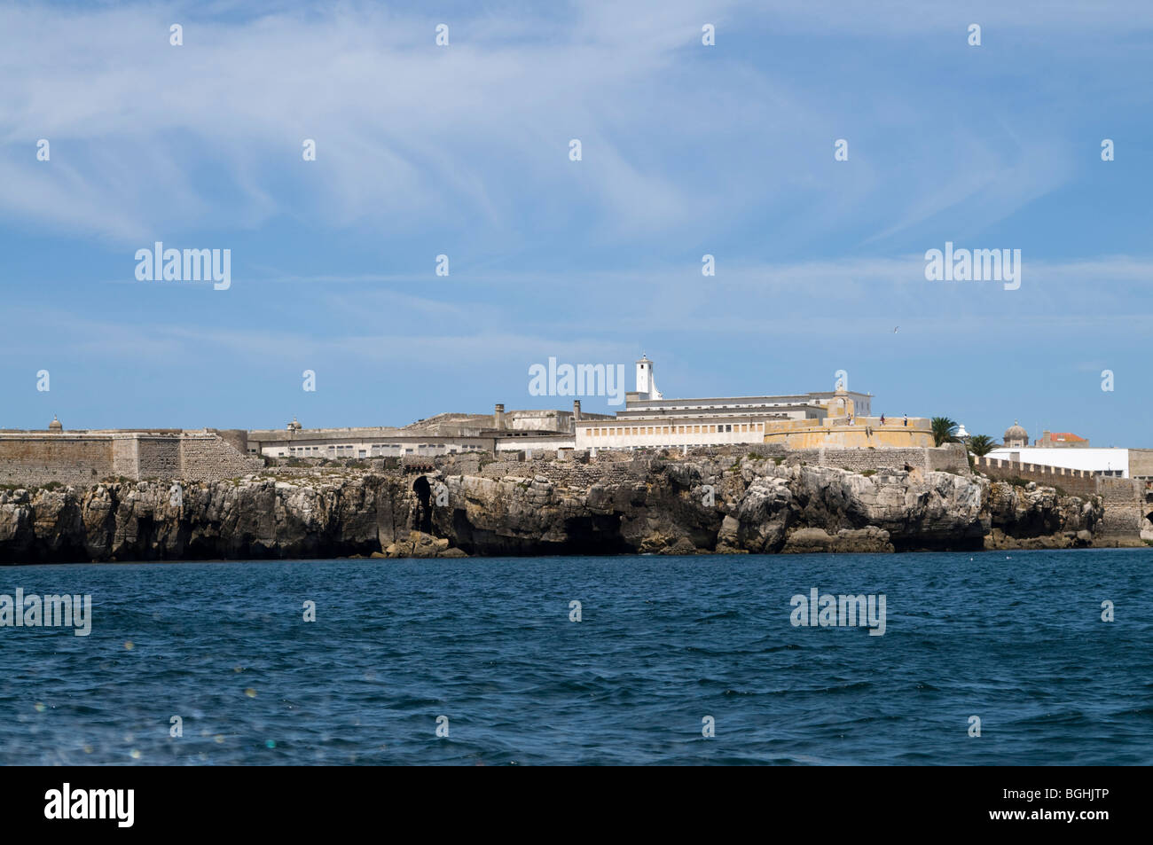 view of Peniche fortress from the sea - Stock Image