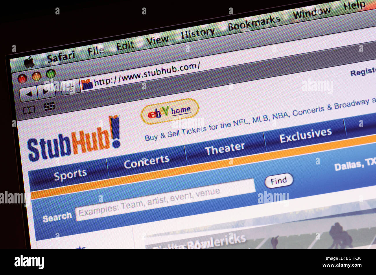 Stub Hub website - Stock Image